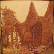 Fine circa 1900 English watercolor of a garden in Sussex, style of Stannard family of watercol