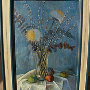 BARBARA A. WOOD large oil still life painting by the noted contemporary impressionist artist