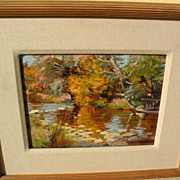 RON McKEE contemporary American impressionist painting colorful pond landscape