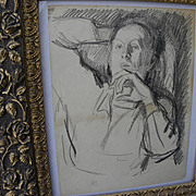 JULIUS BLOCH (1888-1966) original charcoal self-portrait drawing by well listed Philadelphia J
