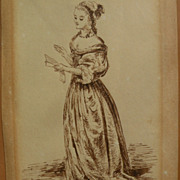 SARAH LOUISA KILPACK (1840-1909) small sepia ink drawing of a lady by listed English artist