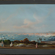 NEAPOLITAN SCHOOL (19th century) large panoramic gouache landscape painting with figures inclu