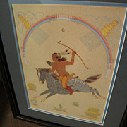 HARRISON BEGAY (1917-2012) Southwestern Native American art original gouache painting of tradi