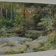 HENRY WEBSTER RICE (1853-1934) fine watercolor painting of pond and forest meadow in spring ..