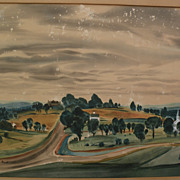 DEAN FAUSETT (1913-1998) silkscreen print of New England landscape by noted American artist