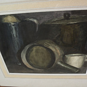Watercolor still life painting of kitchen objects