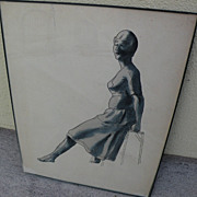 Vintage watercolor and ink drawing of a lady circa 1935