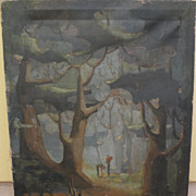 Modernist large painting &quot;Forest Fantasy&quot; signed Graham circa 1940's