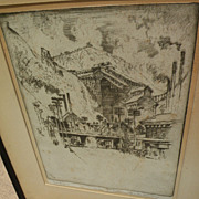 JOSEPH PENNELL (1857-1926) pencil signed etching of Pennsylvania coal town by famous American