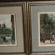 CHARLES BLONDIN (1913-) Paris impressionist street scenes **PAIR** pencil signed limited editi