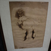 "JACQUES VILLON (1875-1963) pencil signed limited edition drypoint print of 1905 ""La Petit"