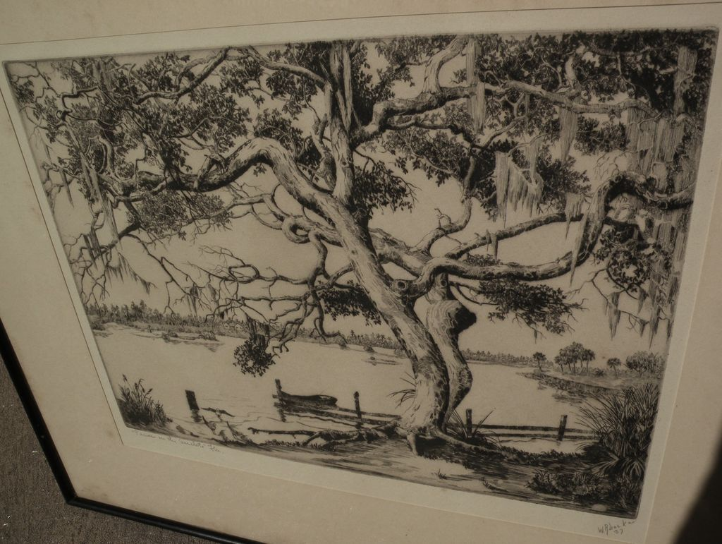 Walter ronald locke 1883 1949 florida art pencil signed etching from