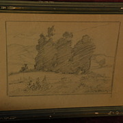 DAVIS SCHWARTZ (1879-1969) California plein air art landscape pencil drawing