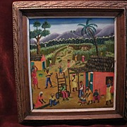 JACQUES DORCE (1942-) Haitian naive outsider art colorful genre painting