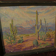 HAZEL LAVINA ROBERTS (1883-1966) listed California artist Southwest desert painting Arizona ar