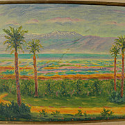 ARYE LEO PEYSACK (1894-1972) Israeli Jewish art impressionist signed landscape mountains and v