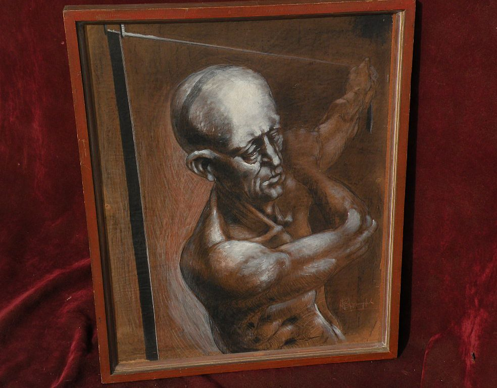 ROBERT SPRINGFELS 20th century figural art mixed media drawing listed artist