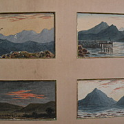 Four Scottish/English watercolor mini landscape paintings framed as one