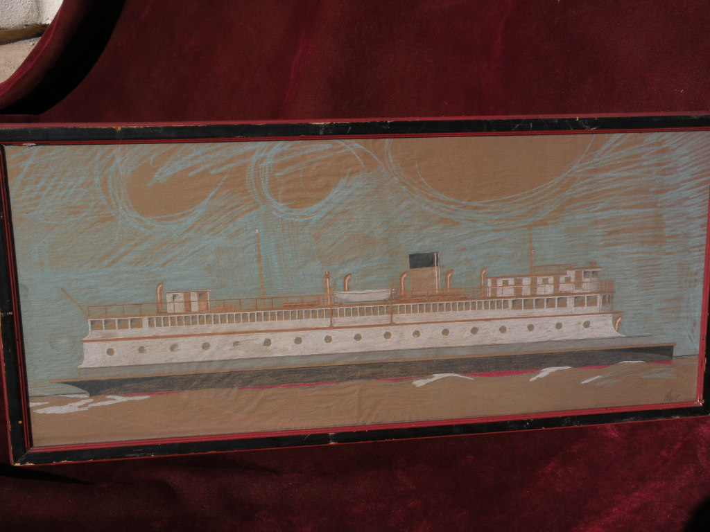 Signed marine art color drawing of ferry boat very detailed