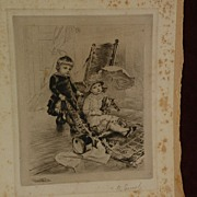 RUDOLF ERNST (1854-1932) major Austrian orientalist artist pencil signed etching of children p