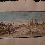 19th century Spanish watercolor painting signed and dated 1881