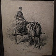 GEORG WILHELM STOOPENDAAL (1866-1953) Swedish art ink drawing early 20th century