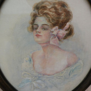 Gibson Girl lovely original 1906 American watercolor illustration painting oval shape