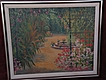 Latin American signed painting of flowery courtyard dated 1945