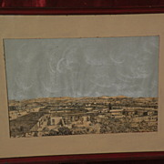 Unique historical ink drawing of circa 1870 Los Angeles California