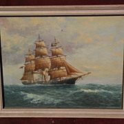 L. PAPALUCA (Jr.) son of famous marine artist painting of clipper ship on the high ...