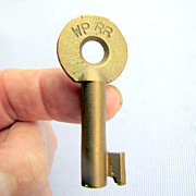 Brass Railroad SWITCH LOCK KEY--WP RR - Western Pacific Ry