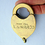 L&N RR (Louisville and Nashville) railroad  brass heart-shaped lock, no key