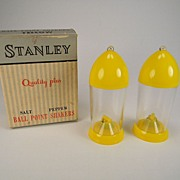 Vintage Stanley Ball Point Salt & Pepper Shakers in Original Box