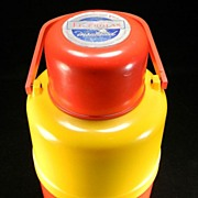 Vintage Red & Yellow Insulated Thermos with Original Label