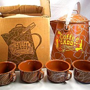 Vintage Brown Swirl Enamel Coffee Caddy with 4 Cups in Original Box