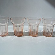 Four Pink Queen Mary Juice Tumblers by Anchor Hocking
