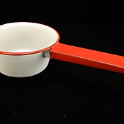 Vintage White Enamel Sauce Pan with Red Trim & Handle