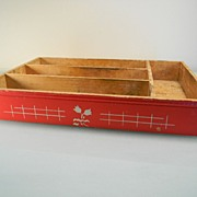 Vintage Red Wooden Flatware Tray