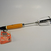 Vintage 1950's EKCO Hand Mixer with Natural & Black Wooden Handle with Original Price Stamp ..