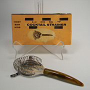 Vintage Host Cocktail Strainer with Caramel Swirl Bakelite Handle in Original Box