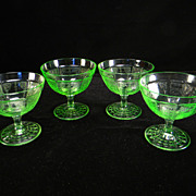 Four Green Princess Sherbets by Hocking Glass Company