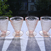 Four 1930's Pink Cherry Blossom Footed Tumblers by Jeannette Glass Co.