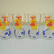 Four Vintage 1938 Mexican Scene Decorated Fruit Juice Tumblers by Hazel Atlas