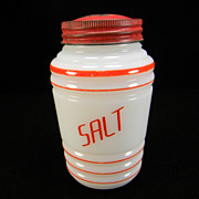 Vintage Hazel Atlas Round Ribbed Salt Shaker