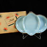 Vintage Fire King Turquoise Divided Relish Dish in Original Box