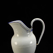 Vintage White Enamel Milk Pitcher with Blue Trim