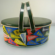 Vintage Ohio Art School Pennants Lunch Box