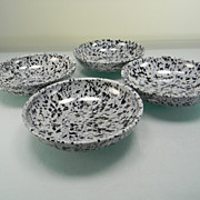 Four Vintage Gray & Black Speckled Melmac Berry Bowls