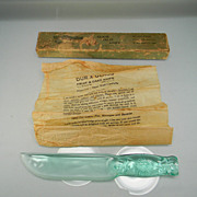 Vintage 1938 Dur-X Glass Fruit & Cake Knife in Original Box with Original Instructions