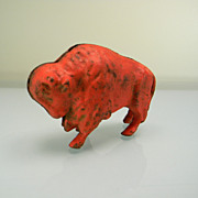 Vintage 1920's Red Cast Iron Buffalo Still Bank